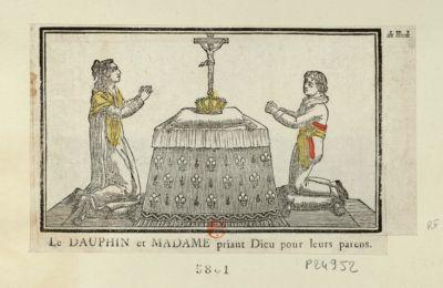 Le  Dauphin et Madame priant Dieu pour leurs parens [estampe]