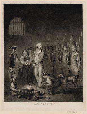 Lafayette sorti de France dans <em>la</em> nuit du 19 au 20 aoust 1792, arrêté par les Prussiens et de suitte livré <em>à</em> l'Empereur enfermé dans les prisons d'Olmutz et remis en liberté le 27 aoust 1797 ou le 10 fructidor l'an 5.eme de <em>la</em> Rép. fr.ce : [estampe]