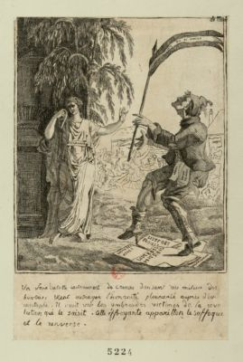 Un sans culotte instrrument de crines [sic] dansant au milieu des horreurs [estampe]