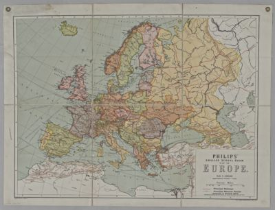Map Of Europe With Scale.Philips Smaller School Room Map Of Europe Scale 1 6 000 000 Etc