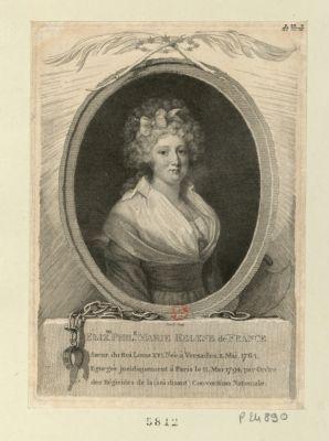 Eliz.th Phil.e Marie Helene <em>de</em> France Soeur du Roi <em>Louis</em> <em>XVI</em>. Née à Versailles 3 <em>mai</em> 1764. Egorgée juridiquement à Paris le 11 [i.e. <em>10</em>] <em>mai</em> <em>1794</em> par ordre des regicides <em>de</em> la (soi disant) Convention nationale : [estampe]