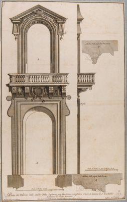 Palazzo della Sapienza. Portone e finestrone soprastante verso piazza S. Eustachio