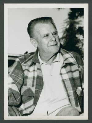 Lu Watters at his home in Cotati, California on porch