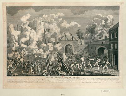 Prise de la Bastille le 14 juillet 1789 cette forteresse fut commencée en 1368 sous le règne de Charles <em>V</em> roi de France... : [estampe]