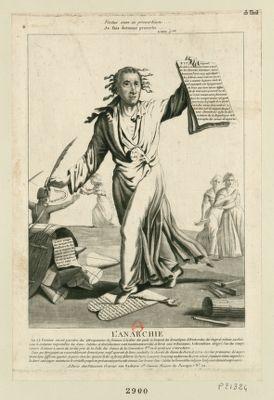 L' Anarchie le 25 février on vit paraître des attroupements de femmes à la têtes des quels se trouvait des domestiques d'aristocrates, des émigrés mêmes, cachés sous le costumes respectables des sans-culottes... : [estampe]