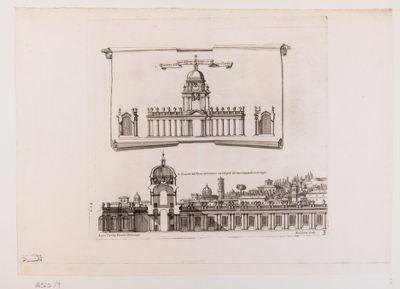 Prospetto dé Portici in fronte del Tempio con Orologio e Campanile