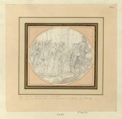Marie-Antoinette d'Autriche conduite à l'échafaud [dessin]