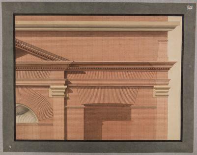Foro Traiano, esedra verso il Quirinale, particolare architettonico di cornice e attico