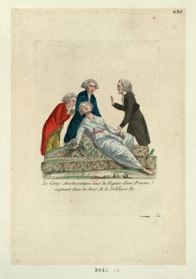 Le  Corps aristocratique sous la figure d'une femme expirant dans les bras de la noblesse &c [estampe]