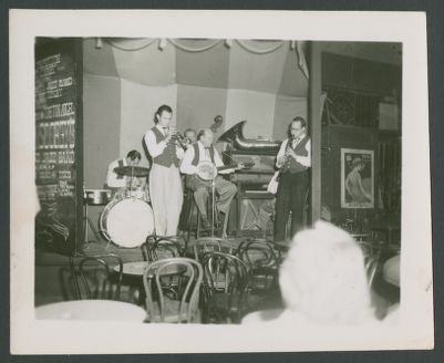 Bob Scobey Band at Tin Angel: Fred Higuera, Bob Scobey, Dick Lammi, Clancy Hayes and Bill Napier