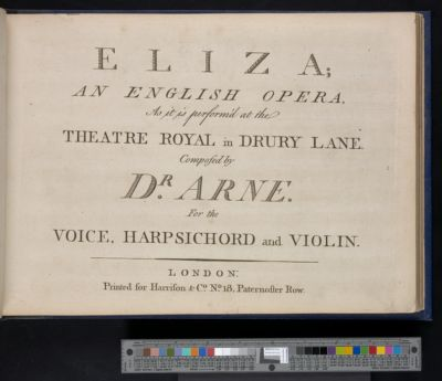 Eliza : an English opera : as it is perform'd at the Theatre-Royal in Drury Lane : for the voice, harpsichord and violin
