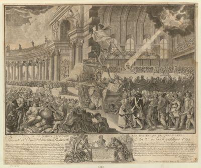 A la Nation française les protestans reconnaissans présenté et dedié à la Convention nationale l'an 2.e de la Republique <em>1793</em> : le fond represente l'interieur de l'Assemblée constituante eclairée par un rayon de la divinité... : [estampe]