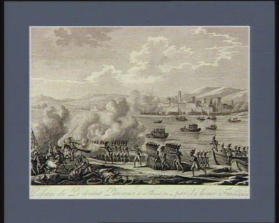 Passage du Pô devant Plaisance, le 18 floréal, an 4, par l'armée française commandée par le général Bonaparte et le chef de brigade d'elite Lasne : [estampe]