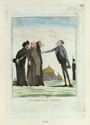 L' Enrolement de trois religieux [estampe]