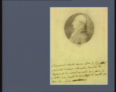 Emmanuel Charles [illisible] b.on de Crussol maréchal de camp chevalier des ordres de St Lazare et du Mont Carmel, né à <em>Paris</em> le 11 8bre 1741, député de la noblesse du comté de Bar-sur-Seine : [dessin]