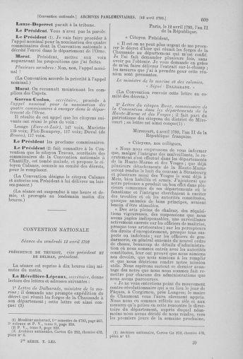 Tome 61 : Du 31 mars au 12 avril 1793 - page 609