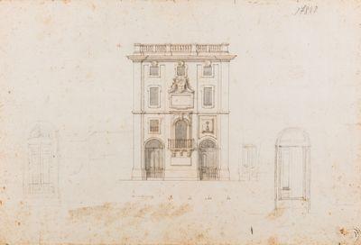 Porto di Ripetta, progetto della facciata della Dogana Nuova e dettaglio per le porte