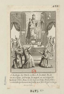 A Boulogne sur Mer le 23 mai, a l'instant de la consécration la Vierge fit un geste, et un cri, qui fit tomber le prêtre mais <em>on</em> vit dans une niche deux prêtres aristocrates qui tenaient une ficelle pour faire agir la Vierge : chronique de juin : [estampe]