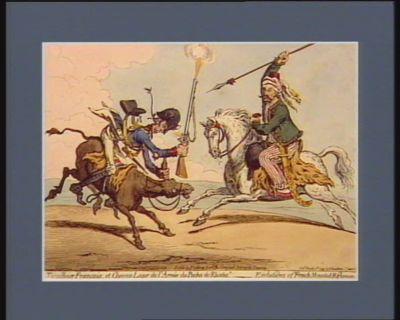 """""""Tirailleur français et chevau léger de l'armée du pacha de Rhodes"""" evolutions of French mounted riflemen : [estampe]"""