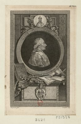 <em>Pius</em> <em>VI</em> Pont. max Viennae Caesarem visitans mense Mart. 1782 : [estampe]