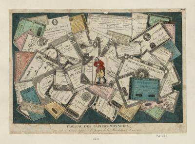 Tableau des papiers monnoies qui ont eut cours depuis l'epoque de la Révolution française : [estampe]