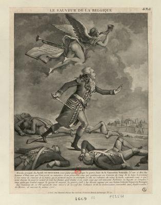Le  Sauveur de la Belgique marche précipité du perfide Dumouriez vers Paris pour protéger la partie saine de la Convention Nationale... : [estampe]