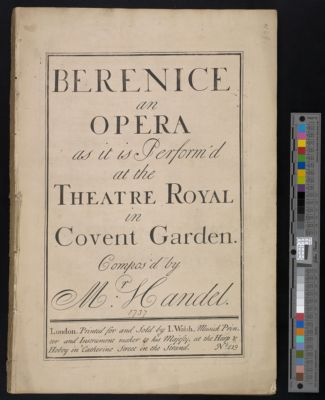Berenice : an opera as it is perform'd at the Theatre Royal in Covent Garden