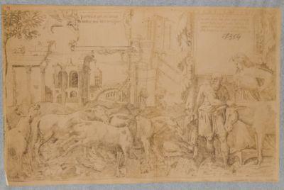 Foro Transitorio, veduta d'insieme dei resti nello sfondo di una allegoria