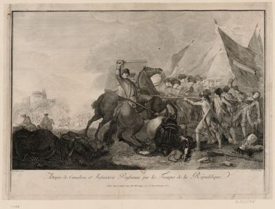 Ataque de cavalerie et infanterie prussienne par les troupes de la République [estampe]