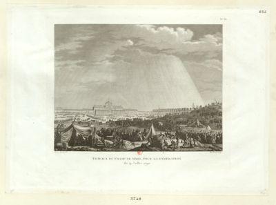 Travaux du Champ de Mars pour la Fédération le 14 juillet 1790 [estampe]