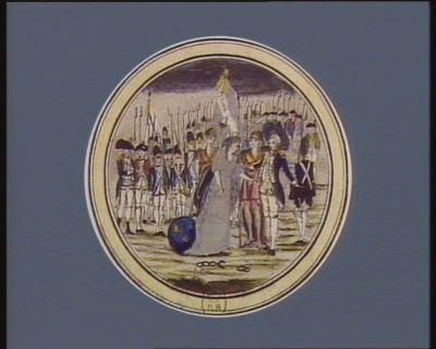 La  France accompagnée de la liberté, et de Minerve, vient complimenter monsieur de La Fayette du serment civique prononcé au Champ de Mars le 14 juillet 1790, au nom de la <em>nation</em>, la loi, et le Roi [estampe]