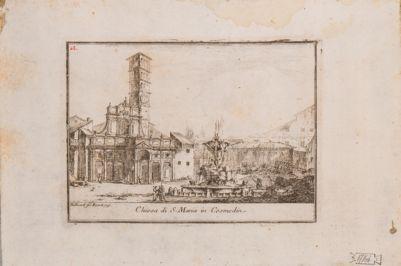 S. Maria in Cosmedin, facciata della chiesa con fontana e piazza