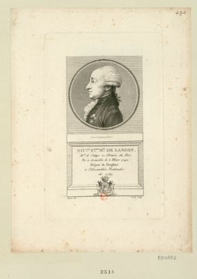 Nic.las F.çois m.is de Langon m.al de camps ez armées du Roi. Ne à Grenoble le 5 mars 1742. Député du Dauphiné à l'Assemblée nationale de 1789 : [estampe]