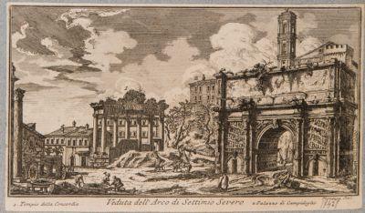 Arco di Settimio Severo con i monumenti adiacenti