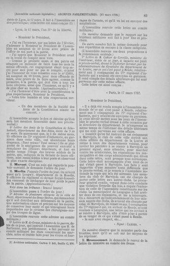 Tome 40 : Du 15 au 30 mars 1792 - page 83