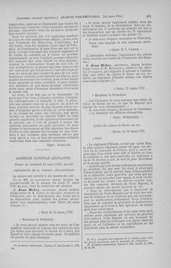 Tome 40 : Du 15 au 30 mars 1792 - page 431