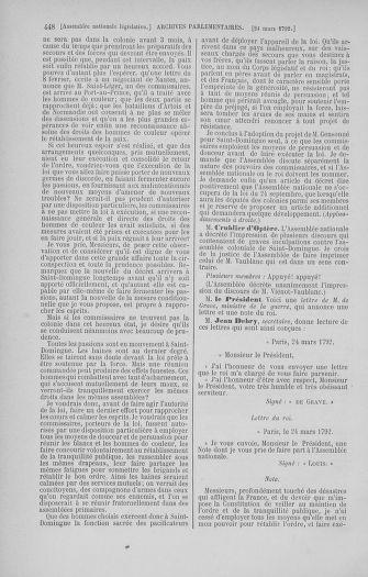 Tome 40 : Du 15 au 30 mars 1792 - page 448