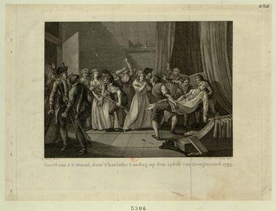 Moord van J.P. Marat, door Charlotte Corday [estampe]