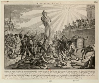 Le  Dégel de la nation le milieu du tableau est occupé par un monceau d'immondices pétrifiées par l'air, sur lequel les sans culotte ont elevé la statue de la nation et de la liberté... : [estampe]