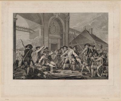 Desilles, sous-lieutenant du regiment du Roi se trouvait à la porte Stainville avec le détachement qui gardait cette porte comme ceux-ci se disposaient à tirer sur l'avant-garde de l'armée un canon chargé à mitrailles il s'en emparat et leur dit tirés sur moi que je sois la premiere victime en perdant la vie, je n'aurai pas la douleur de voir massacrer mes freres et mes camarades : [estampe]