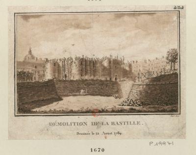 Démolition de la Bastille dessinée le 12 aoust 1789 : [estampe]