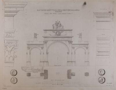 Arco di Gallieno, particolari, restauro