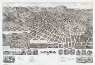 Perspective map of the city of Helena, Mont., capital of state, county seat of Lewis & Clarke Co. 1890. (with) Lenox, Corbin, and east side additions. Copyrighted and published by the American Publishing Co., cor. south Water & Ferry sts., Milwaukee, Wis., U.S.A