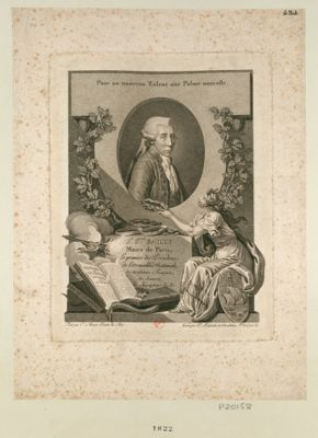 J.n S.vain Bailly maire de Paris, le premier des présiden. de l'Assemblée nationale, des Académies françoise, des sciences, des inscriptions etc... : [estampe]