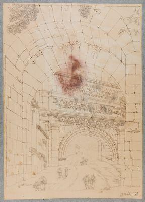 Porta Tiburtina vista dall'interno con epigrafi