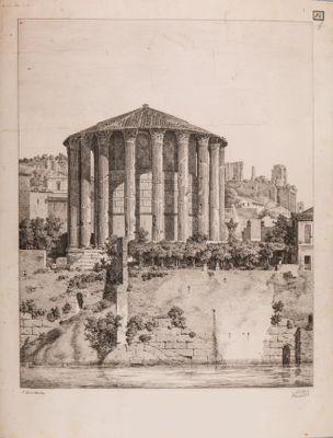 Tempio cosidetto di Vesta visto dal Tevere con l'imbocco della Cloaca Massima