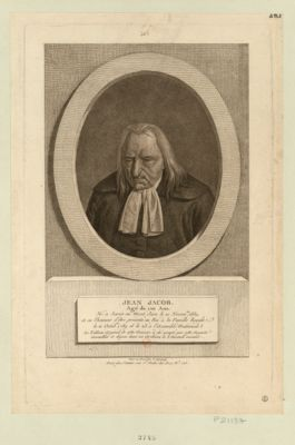Jean Jacob, âgé de 120 ans né à Sarsie au Mont Jura le 10 novembre 1669, a eu l'honneur d'être présenté au Roi, à la famille royale le 11 octobre 1789 et le 23 à l'Assemblé nationale... : [estampe]