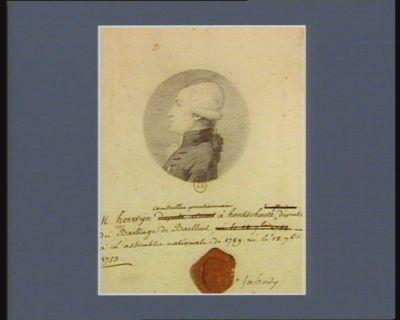 """M. Herwy """"n conseiller pensionnaire à Hontschoote député du baillage de Bailleul à l'Assemblée nationale de 1789 né le 18 7.bre 1759 : [dessin]"""