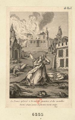 La  France éplorée à la vue des meurtres et des incendies Luctus ubiqué pavor et plurima mortis imago. Virg. : [estampe]