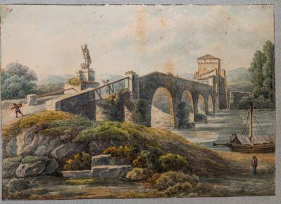 Ponte Milvio, veduta di scorcio dalla riva sinistra